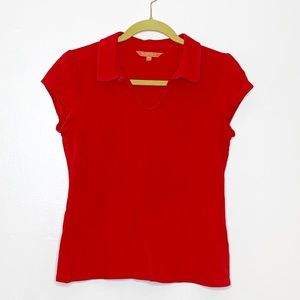 ModCloth v neck ruffle sleeve polo